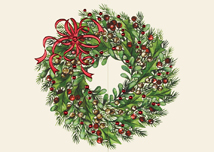 Red Ribbon Wreath Holiday Cards